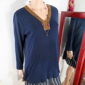 LRL  Blue V Neck  Cotton Pullover Tunic Top